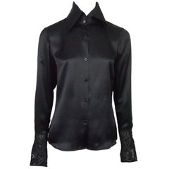 Ralph Lauren Black Label Black Silk Shirt w/ Embroidered/Sequin French Cuffs - 6