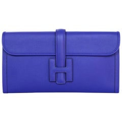 Hermes 2018 Blue Bleu Electrique Swift Leather Jige Elan 29 H Clutch Bag