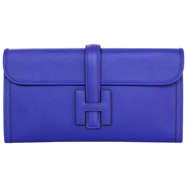 Hermes 2017 Blue Bleu Electrique Swift Leather Jige Elan 29 H Clutch Bag