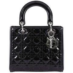 Dior Lady Handbag Cannage Quilt Patent Medium