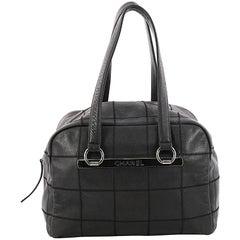 Chanel Square Stitch Bowler Bag Quilted Caviar Medium