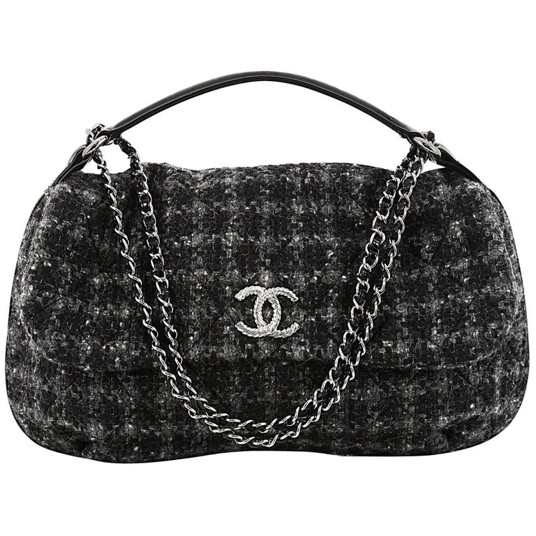 Chanel CC Flap Satchel Quilted Tweed Medium