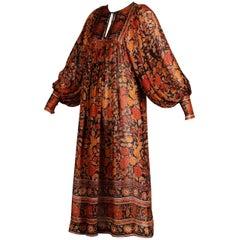 1970s Judith Ann Vintage Paper Thin Silk Indian Hand-Block Print Dress