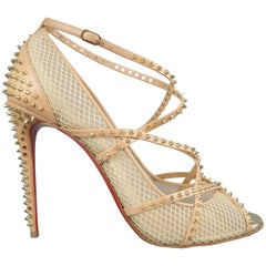 CHRISTIAN LOUBOUTIN Size 12 Beige Spiked Leather & Mesh ALARC Sandals