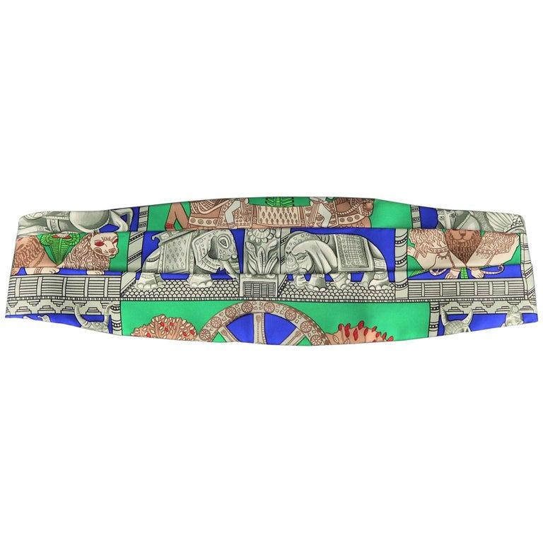 Men's HERMES Size 42 Green Blue & Gray Elephant TORANA Print Silk Cummerbund