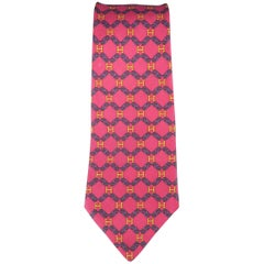 Men's HERMES Raspberry Red Navy Chain & Yellow H Print Silk Tie