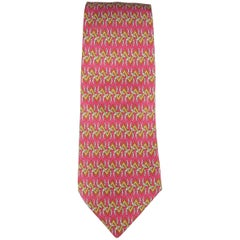 Men's HERMES Raspberry Red & Gold Chevron Horseshoe Print Silk Tie