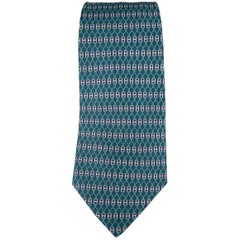 Men's HERMES Navy & Green Silver H Buckle Interlock Knot Print Silk Tie