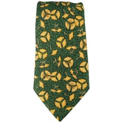 Men's HERMES Green & Gold Floral Leaf Print Silk Tie