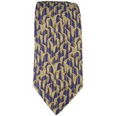 Men's HERMES Navy & Beige Calla Lily Print Silk Tie