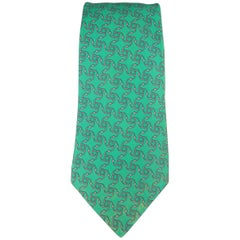 Men's HERMES Green & Grey Interlock Pattern Silk Tie