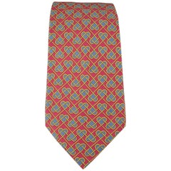 Men's HERMES Raspberry Red Gold & Blue Rope Heart Print Silk Tie