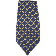 Men's HERMES Navy & Yellow Belt Print Silk Tie