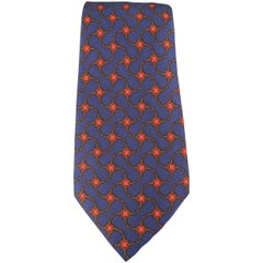 Men's HERMES Navy Brown & Red Interlock Print Silk Tie