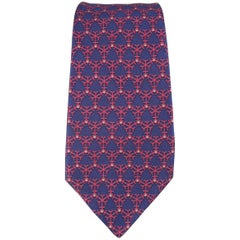 Men's HERMES Navy & Red Interlock Snowflake Print Silk Tie