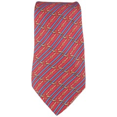 Men's HERMES Red & Blue Diagonal Belt Stripe Print Silk Tie