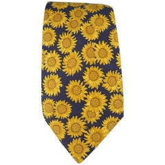 Men's  HERMES Gold & Navy Sunflower Print Silk Tie