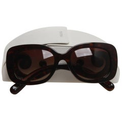 Prada Brown Tortoiseshell Squared Baroque Sunglasses