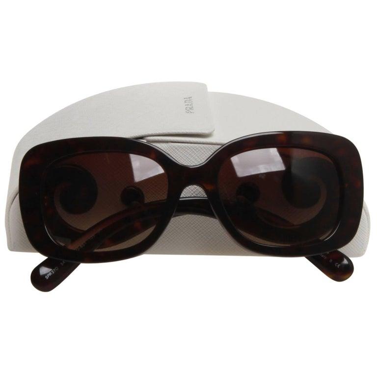 Prada Brown Tortoiseshell Squared Baroque Sunglasses