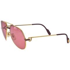 b9f7a3f0e4 Vintage Cartier Santos Screws 56mm Heavy Plated Sunglasses France ...