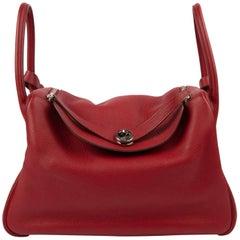 Hermes Bag Lindy 34 Rouge Clemence Palladium
