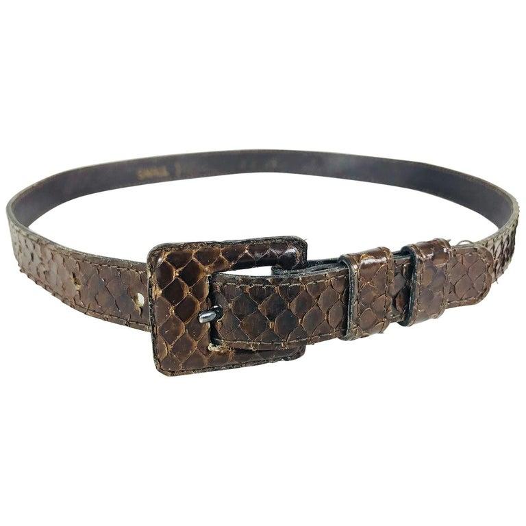 Yves Saint Laurent skinny brown snake skin belt