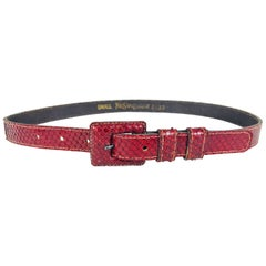 Yves Saint Laurent skinny Red snake skin belt 1970s
