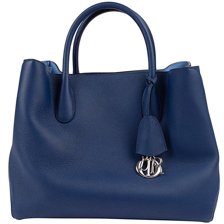 Christian Dior Bag Open Bar Vivid Blue Bi-Color Tote