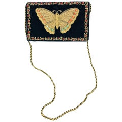 Jewel bead gold bouillon embroidered butterfly evening bag 1970s