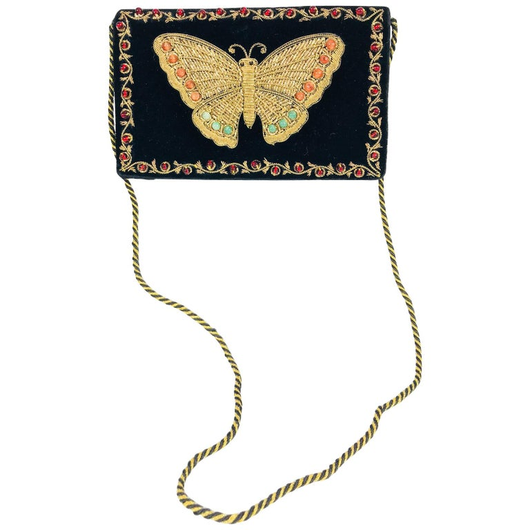 Jewel bead gold bouillon embroidered butterfly evening bag 1970s For Sale