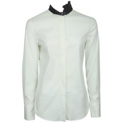 Brunello Cucinelli White Cotton Long Sleeve Shirt with Grey Collar - S