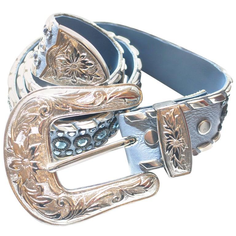"Kippys Swarovski Crystal Blue Belt 34"" (Also in White and Pin k)"