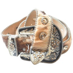 """Leatherock Western Pony Hair Belt with Crystals 34"""""""
