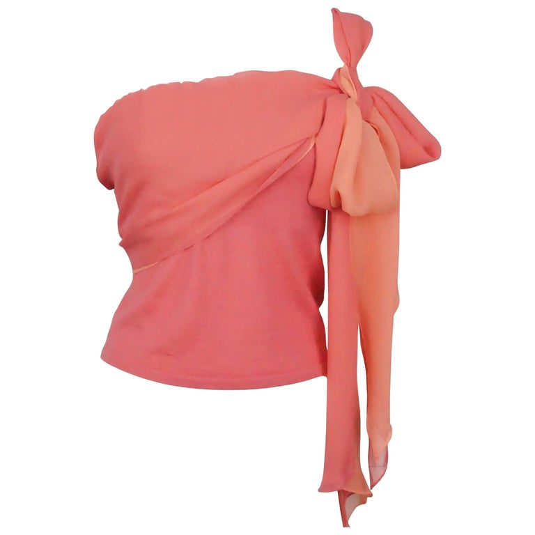 Ralph Lauren Black Label Coral Cashmere and Silk Tie Top - M