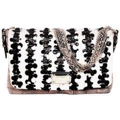 Dolce & Gabbana Miss Vivienne Snakeskin Brown & Pink Multi Chain w/Ivory & Black