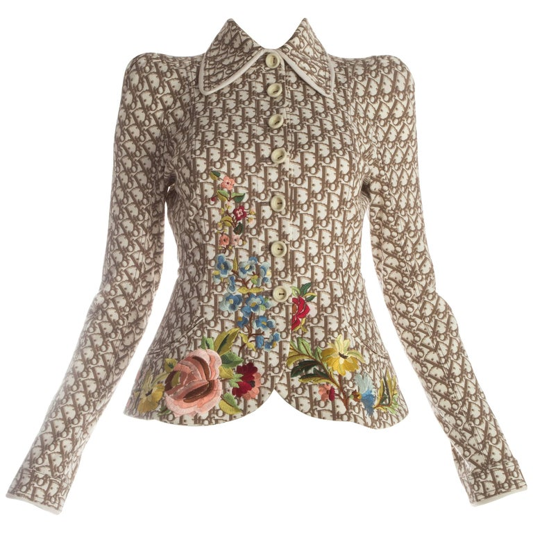 Christian Dior monogram structured jacket with floral embroidery, S/S 2005