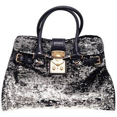 Miu Miu Black Paillettes Sequin Shopping Tote Argento with Dark Green Handles
