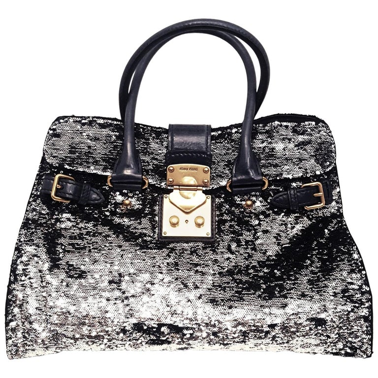 ee9eec1d3 Miu Miu Black Paillettes Sequin Shopping Tote Argento with Dark Green  Handles For Sale