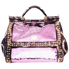 Dolce & Gabbana Pink Sequin w/ Purple & Ivory Python Highlighted w/ Gold Studs
