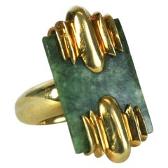 Jade and Gold Modernist Ring