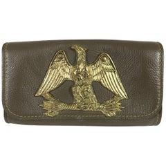 Roger Van S Gold eagle green pebble leather clutch hand bag 1950s NWOT