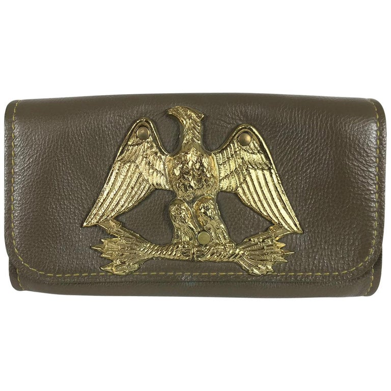 Roger Van S Gold eagle green pebble leather clutch hand bag 1950s NWOT For Sale