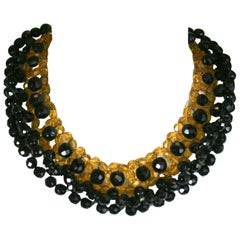 Elaborate French Citrine and Jet Collar