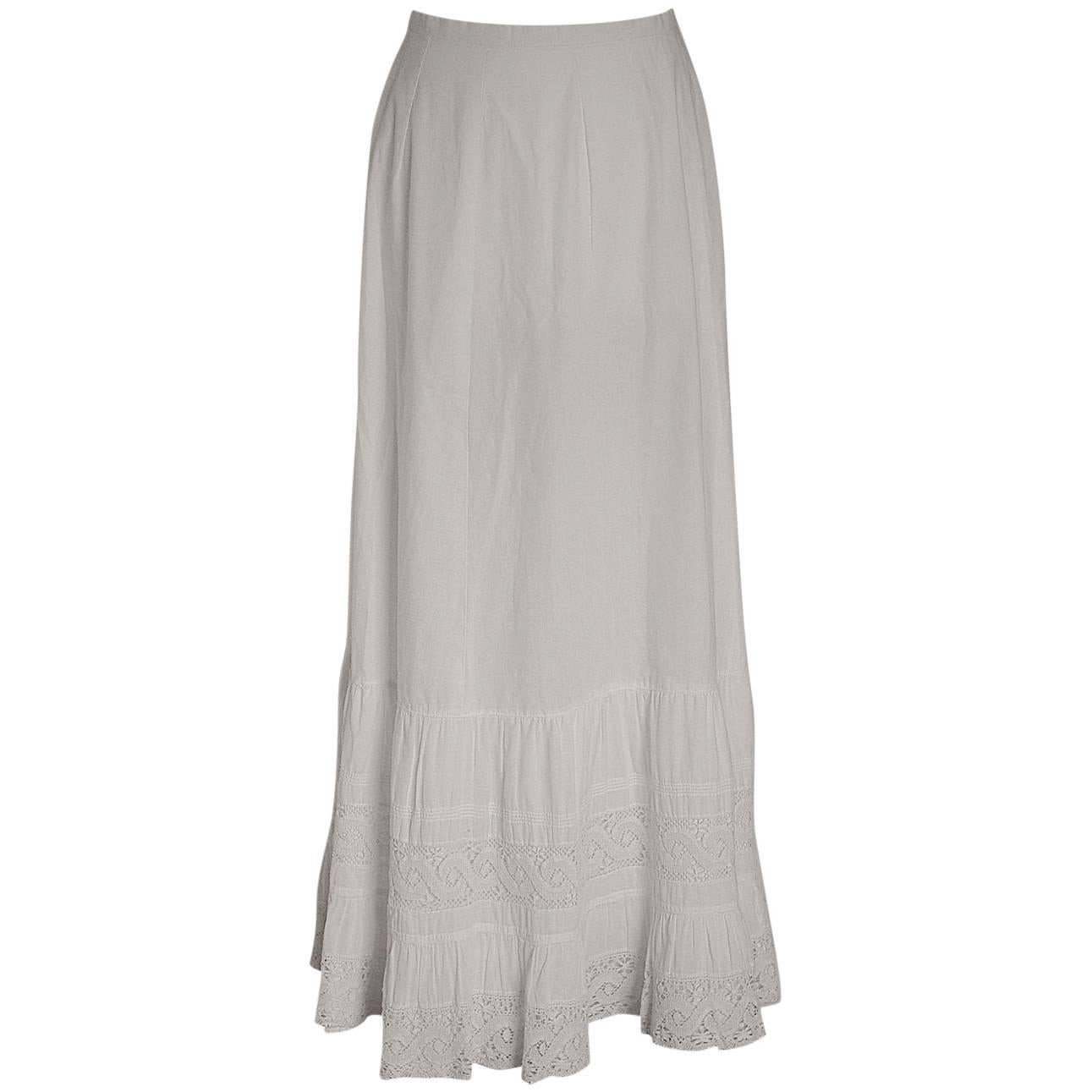 Antique Edwardian White Cotton and Lace Petticoat circa 1900s