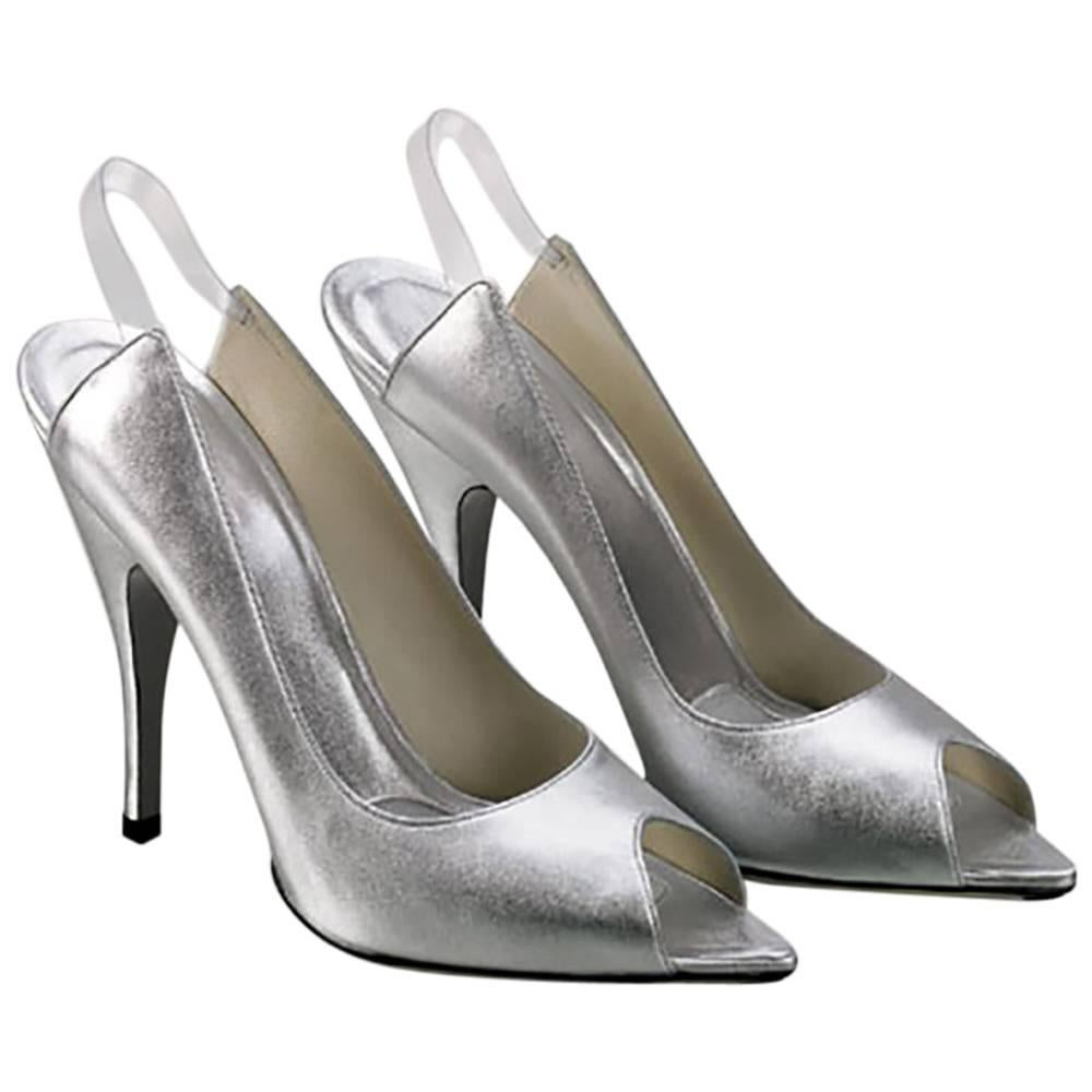 S/S 2003 TOM FORD for GUCCI SILVER LEATHER OPEN TOE SHOES