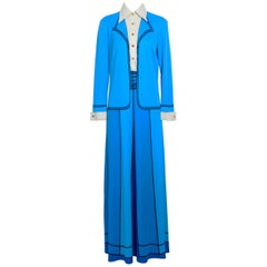 Roberta di Camerino vintage bleu trompe l'oeil jersey dress