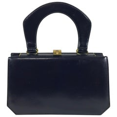 Susan Gail Original Navy Blue Box Calf Accordion Handbag, 1950s