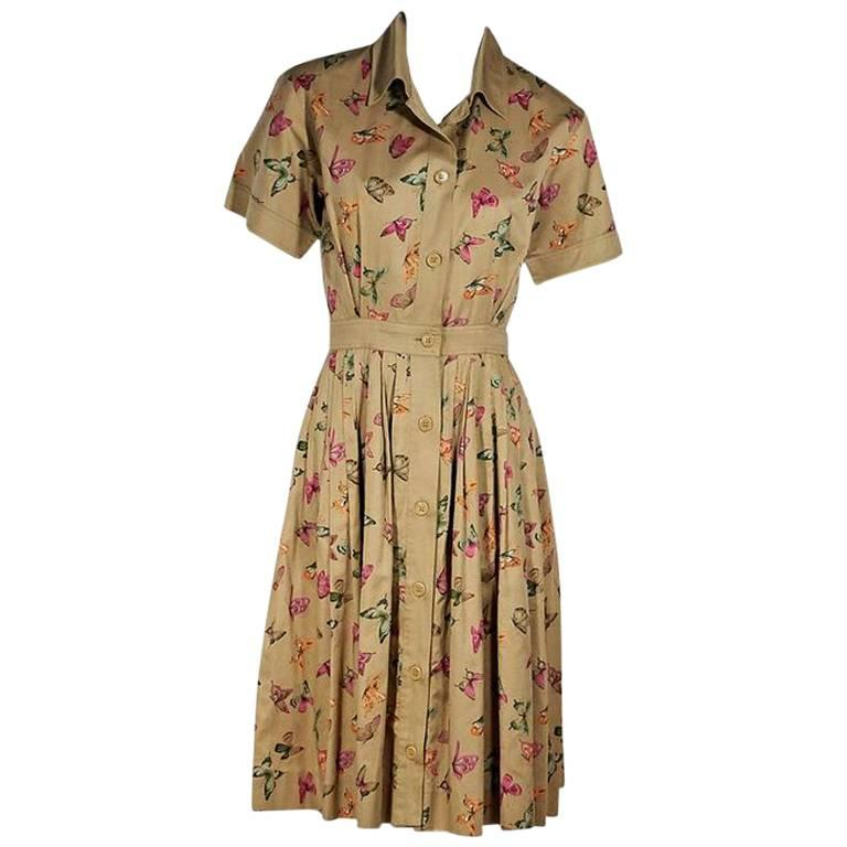 Multicolor Vintage Gucci Butterfly Cotton Shirtdress