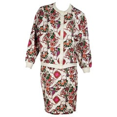 Multicolor Vintage Hermes Floral Cotton Skirt Set
