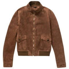New Gucci Men's Goat Suede Brown Bomber Jacket 54 - US 44